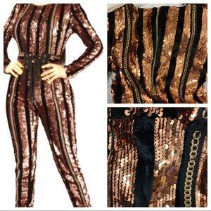 Fashion Nova Disco Sequin Jumpsuit Modern